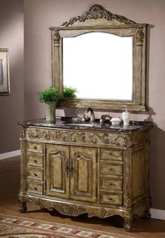 A gorgeous Vintage Bathroom Vanity.  Beautiful tone, texture, and crafted detail.  #cherylkhan