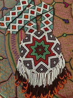 Indigenous People Of Brazil, Brazil People, Beaded Necklaces, Star Patterns, Hand Embroidery, Folk, Beads, Handmade, Accessories