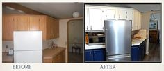 Before & After of Baking Center and Snack Center Baking Center, Before After Kitchen, Kitchens, Kitchen Appliances, French Door Refrigerator, Diy Kitchen, Home, Design, Kitchen
