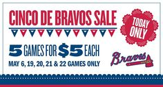 DEAL ALERT!!!!! DEAL ALERT!!!!!   Discounted $5 Atlanta Braves Tickets:  Get Atlanta Braves Tickets for only $5  It's Cinco de Bravos! In honor of the holiday, we're celebrating with $5 Club Pavilion seats for select games in May against the Phillies, Rays and Brewers!   To take advantage of this offer, use this link: http://atlanta.braves.mlb.com/atl/ticketing/cinco_de_bravos.jsp?adbid=10152906352202831&adbpl=fb&adbpr=35071097830&partnerId=as_atl_20150505_45181506&short_code=2xiem   Use…
