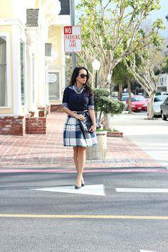 Plaid skirt. (from Stylish Petite)