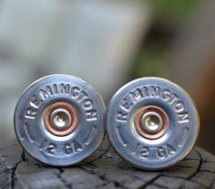 My honey would love these.. Shotgun Bullet Shell Cufflinks Remington 12 by WoodenTreasures