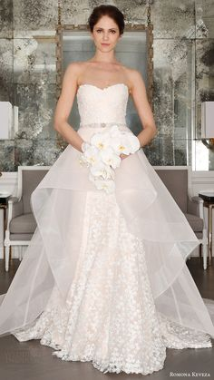 romona keveza bridal spring 2017 strapless sweetheart trumpet wedding dress mv optional sheer aline overskirt>>> I would love this If it had sleeves Spring 2017 Wedding Dresses, Best Wedding Dresses, Wedding Attire, Bridal Dresses, Gown Wedding, Trendy Wedding, Lace Wedding, Spring Wedding, Gatsby Wedding