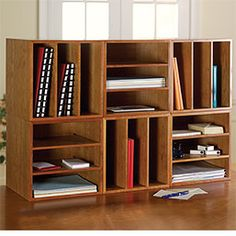 You can configure these stackable storage squares to create a bookcase to suit your needs.