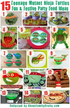75 DIY Teenage Mutant Ninja Turtle Party Ideas including invitations, food, decorations and games.