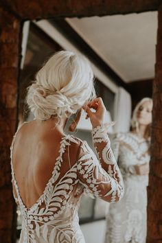 This backless lace dress + loose braided bun gives an elegant feel | Image by Brooke Taelor