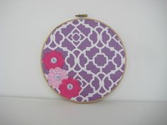 Nursery Decor, Nursery Art, Purple Nursery, Embroidery hoop art, Wall Art, Baby Girl Nursery Wall, Flower, Purple Decor