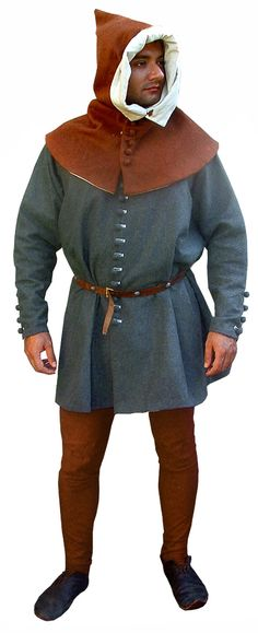 14th century costume, including buttoned cote, hose and hood.