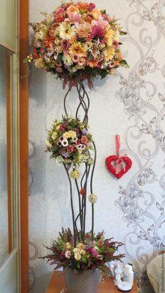 Купить Топиарий. Дерево счастья. - кремовый, цветы, композиция из цветов, топиарий из цветов, розы