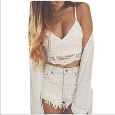 Beautiful white lace open back top New. Beautiful black lace up crop top. Open back sexy top. Wear it at a beach or with a kimono/ cardigan. To get that cute look, pair it with skater skirts, high waisted shorts or jeans. Also available  in black Tops Crop Tops