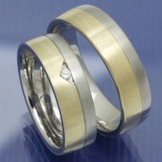 Gold und Steel Trauringe aus Edelstahl und 585 Gelbgold PB209773
