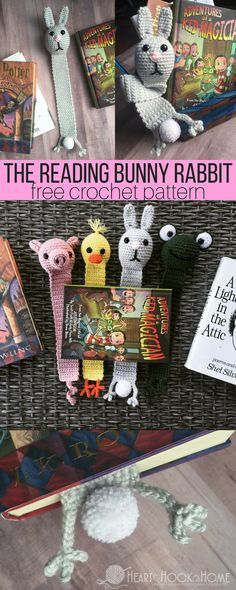 Bunny Rabbit Bookmark Crochet Pattern http://hearthookhome.com/reading-bunny-rabbit-bookmark-crochet-pattern/?utm_campaign=coschedule&utm_source=pinterest&utm_medium=Ashlea%20K%20-%20Heart%2C%20Hook%2C%20Home&utm_content=Bunny%20Rabbit%20Bookmark%20Crochet%20Pattern