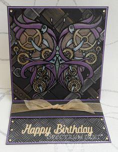 HSN. Easel Card made using Spectrum Noir Colorista Darks Victorian Steampunk Pad. Coloured with Colorista Metallic Pencils. Designed by Marie Jones #crafterscompanion #spectrumnoir