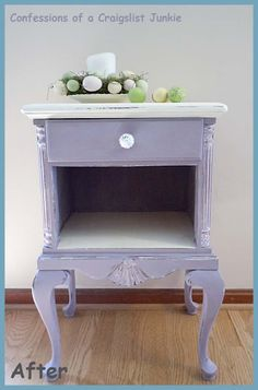 Pretty little makeover in Old White and Emile.  Artist learned that some furniture from the 30's and 40's has a stain that sometimes bleeds through the chalkpaint.  The solution is to spray a layer of shellac on it before painting to seal the stain.  Annie teaches this in her workshops, too!  A good tip!