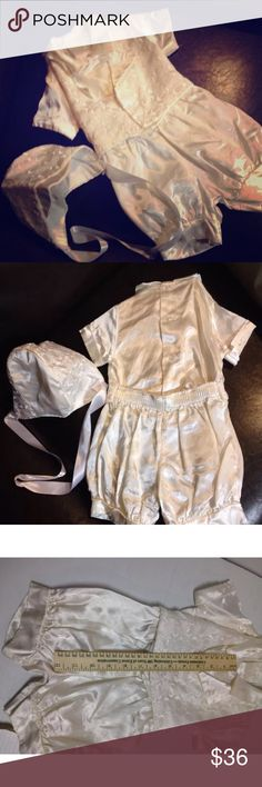 satin christening wedding shortalls Jon jons Boutique shortfalls mini tux and bonnet white satin acetate size 6-9M. Great for christening or wedding attire. See pics for measurements. made in usa boutique Matching Sets