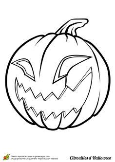 Coloriage du dessin d'une citrouille effrayante.