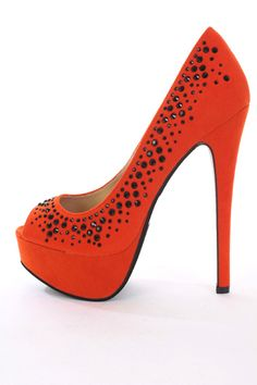 Orange Faux Suede Rhinestone Peeptoe Platform Pump Heels / Sexy Clubwear | Party Dresses | Sexy Shoes | Womens Shoes and Clothing | AMI CLubwear