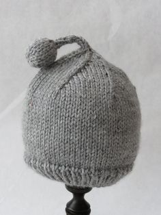 hand knit baby hat (with ball topper)