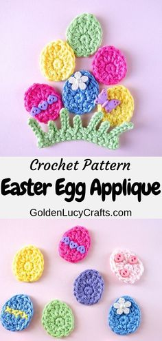 Easy crochet Easter Egg applique, perfect as an Easter decoration for kid's clothing, for scrapbooking or card-making. Also, includes the instructions for the grass applique. Crochet Easter, Cute Crochet, Crochet Motif, Crochet Crafts, Easy Crochet, Crochet Flowers, Crochet Projects, Crochet Appliques, Crochet Ideas