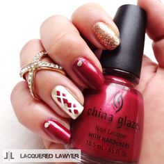 Lacquered Lawyer | Nail Art Blog: Autumn Argyle - stunning red, gold glitter & white argyle patterned nail in coordinating colours perfect for #AW14...x