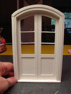 Dollhouse Miniature Furniture - Tutorials | 1 inch minis: 1 INCH SCALE FRENCH DOORS MADE FROM MAT BOARD - How to make dollhouse French Doors from Mat Board.