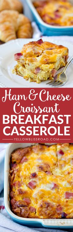 Savory, cheesy and slighty sweet, this Ham and Cheese Croissant Breakfast Casserole would be perfect for a weekend breakfast or even brunch.: