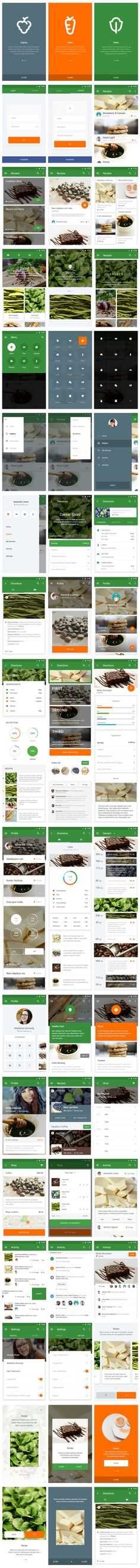 UI Kit Cooking Material UI Kit for Sketch and Photoshop Web Design, App Ui Design, Android Design, Android Ui, Interface Web, Interface Design, Google Material Design, App Design Inspiration, Mobile Ui Design