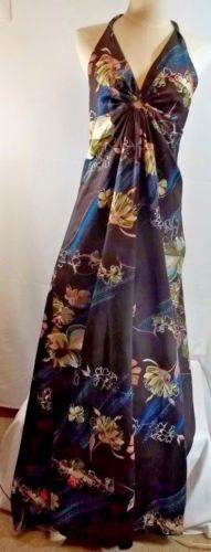 Vintage-Made-in-Hawaii-Nei-Halter-Maxi-Dress-Brown-Floral-Size-12
