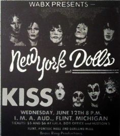 Concert Poster - KISS Opening For New York Dolls