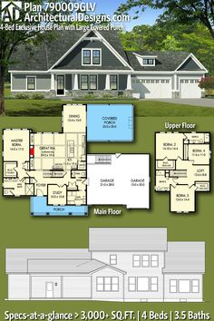 Architectural Designs Exclusive House Plan 790009GLV gives you 4 beds, 3.5 baths and over 3,000 sq. ft. of heated living space. Ready when you are. Where do YOU want to build? #790009GLV #adhouseplans #architecturaldesigns #houseplan #architecture #newhome #newconstruction #newhouse #homedesign #dreamhome #dreamhouse #homeplan #architecture #architect #housegoals #craftsmanhouse #craftsmanhome