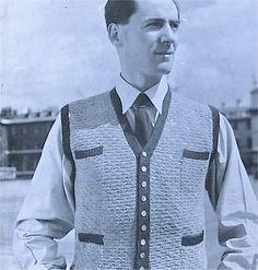 1940s mens waistcoat knitting pattern by sarasellsvintage on Etsy. £2.00, via Etsy.