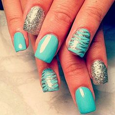 The New Trend Of Teal Nails Art