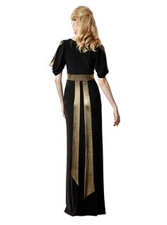 leona edmiston Ruby black stretch dress with red and blue accent Size 1 Gold And Black Dress, Gold Dress, Black Gold, Leona Edmiston Dresses, Nice Dresses, Dresses For Work, Frock Dress, Stretch Dress, Dress Collection