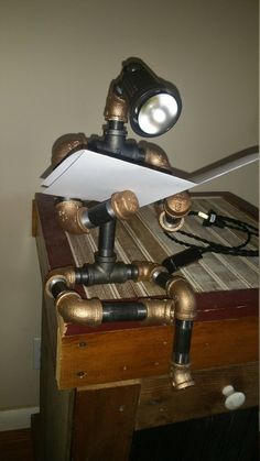 Robot Lamp Steampunk Black and Brass Pipe Desk Light The | Etsy