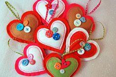Felt Heart Decorations Christmas