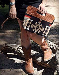 Handmade clutch with tooled leather top, Pendleton wool body, and optional cross-body strap. Contact Western Skies Handmade to place an order. Saddle Leather, Leather Tooling, Leather Purses, Leather Handbags, Tooled Leather, Leather Bags, Luxury Handbags, Handbags On Sale, Western Purses