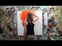 """▶ Démonstration de peinture abstraite (6) Elisabeth - Toile """"Rencontre"""" - YouTube"""