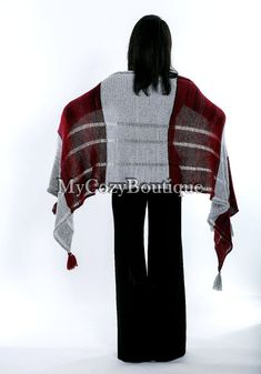 Gift for women knitted shawl wrap chunky by MyCozyBoutique
