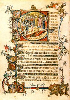 Moses and the Burning Bush from the Bohun manuscript, Image 393.  14th c