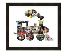 Boys Girls Room Wall Decor, Birthday Gift for Kids, Personalized Train Photo Collage, Nursery Art Print - Custom Made from Your Pictures! by LuluBluePhoto on Etsy