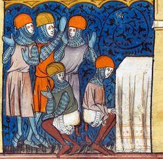 Saracens defiling a church  Chroniques de France ou de St Denis, France 1332-1350 (British Library, Royal 16 G VI, fol. 185v)