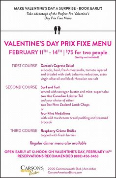 Take advantage of the Perfect Pre-Valentine's Day Prix Fixe Menu  Prix Fixe Menu is available Feb 11th – 14th, 2015 $75 for two (tax/tip not included) Regular dinner menu also available.  Open early at 12-noon on Valentine's Day, Feb 14th Dinner Menu, American, Day, Tips, Books, How To Make, Diner Menu, Libros, Book