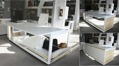 This Desk-Bed Makes Snoozing at Work a Cinch The original site, Studio NL's homepage, isn't pinnable.  Thankfully it's only a concept because I spend enough time at work. But it would be kind of awesome to have in a home for when a buddy has to crash...