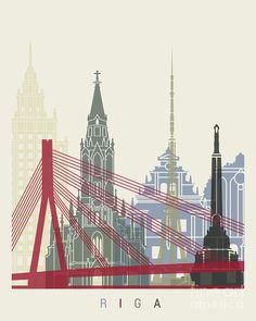 Riga Painting - Riga Skyline Poster by Pablo Romero
