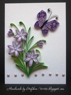 purple flowers and butterflies - Quilling Paper Crafts Quilling Butterfly, Paper Quilling Flowers, Paper Quilling Cards, Paper Quilling Patterns, Origami And Quilling, Quilled Paper Art, Quilling Paper Craft, Quilling 3d, Butterfly Cards