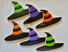 Witch hat cookies~                       By Lizy B, black, purple, orange, green