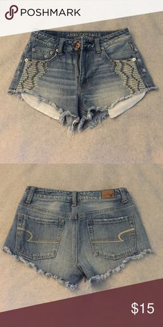 High-Waisted Festival Denim Shorts In perfect condition, really cute bohemian design under the pockets that sets them apart. Definitely fit more as a 0/2 American Eagle Outfitters Shorts Jean Shorts