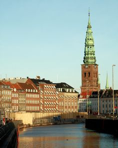 Slotsholmens Kanal & Nikolaj Kirke Tower, Copenhagen - Denmark