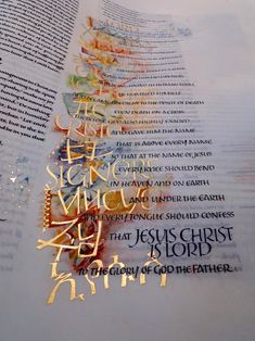 """SO BEAUTIFUL. Again, St. Johns Bible  """"That at the name of Jesus every knee should bow in heaven and on earth and under the earth, and every tongue should confess that Jesus Christ is Lord to the glory of God the Father."""""""