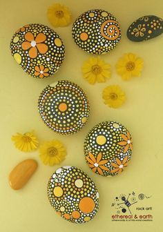Natural Home Decor - Nature Art - Rock Art - Home Decor - Painted Rocks - Hand Painted Stones - yellow shades of orange collection - $38 - FREE SHIPPING - ethereal & earth - otherworldly & of this world creations.